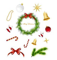 Set of Christmas items vector image