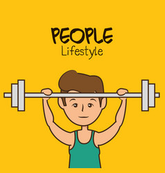 People lifestyle weight lifting vector