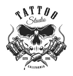 Tattoo studio emblem with machines and skull vector