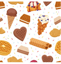 Different wafer cookies waffle cakes and chocolate vector