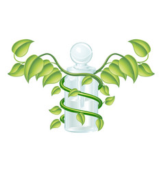 Natural caduceus bottle concept vector
