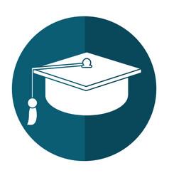 Gaduation cap education symbol shadow vector
