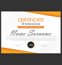 Orange elegance horizontal certificate vector