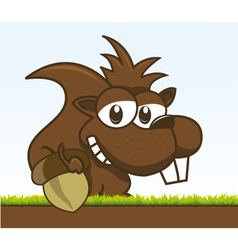 chipmunk holding his acorn vector image