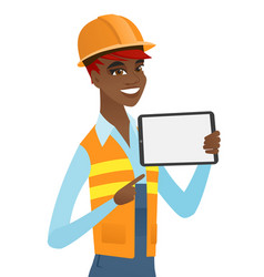 Young african builder holding tablet computer vector