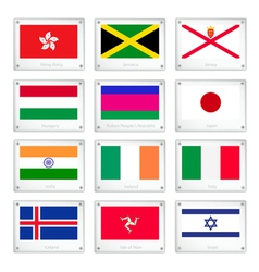 Group of national flags on metal texture plates vector