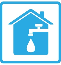 Icon with home spigot and drop of water vector
