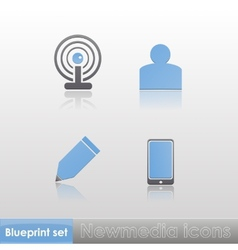 Simple blue-grey new media wi-fi member write vector