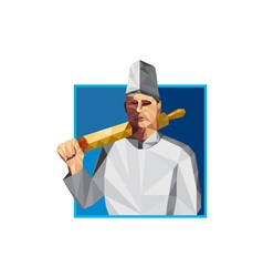 Chef cook rolling pin low polygon vector