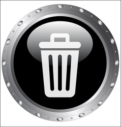 Black button icons - rubbish bin icon vector