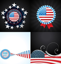 creative set of american flag design of 4th july vector image
