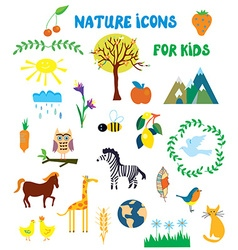 Nature icons set for kids vector