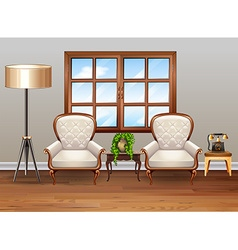 Living room with luxury armchairs vector