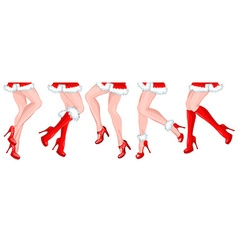 Line of ladies legs in a festive santa costume vector