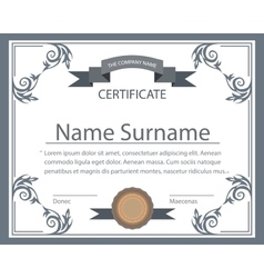 Certificate template tape ornament printing vector