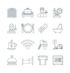 Hotel service thin line icons vector