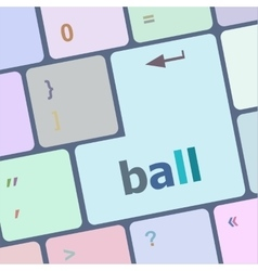 Word ball on computer pc keyboard vector