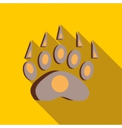 Bear footprint icon in flat style vector image