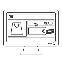 Computer monitor with shopping website on screen vector