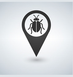 an isolated map marker with a bug vector image