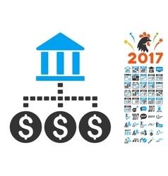 Bank structure icon with 2017 year bonus symbols vector
