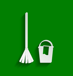 Broom and bucket sign paper whitish icon vector
