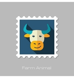 Bull flat stamp Animal head vector image vector image
