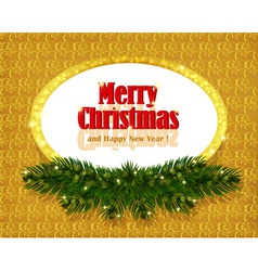 Christmas gold background with sparkling frame vector image