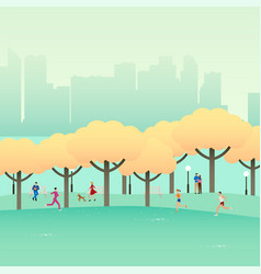 city park autumn vector image