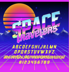 Cool italic typeface space travelers vector