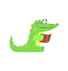 Crocodile reading a book humanized green reptile vector