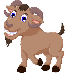 Cute goat cartoon smiling look at camera vector