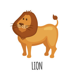 Cute lion in flat style vector