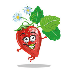 cute strawberry character jumping and smilng vector image