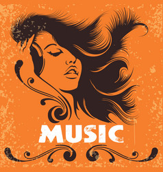 dj girl in headphones music retro poster vector image