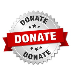 Donate 3d silver badge with red ribbon vector