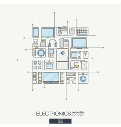 Electronics integrated thin line symbols Modern vector image