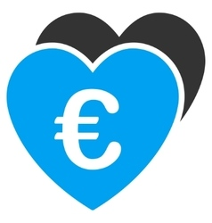 Euro Favorites Hearts Flat Icon vector image