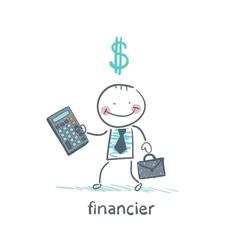financier with a calculator and dollar signs vector image vector image