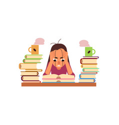 Flat stressed exhausted girl sitting books vector