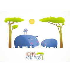 Fun cartoon mother and child african hippopotamus vector