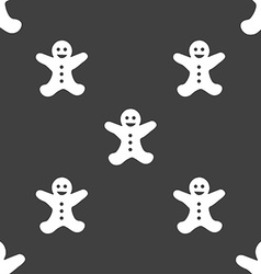 Gingerbread man icon sign seamless pattern on a vector