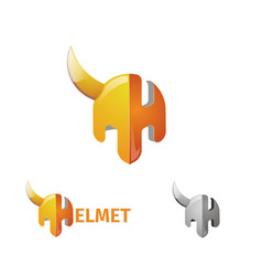 half helmet and letter h the logo of the armor of vector image vector image