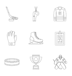 Hockey game icons set outline style vector