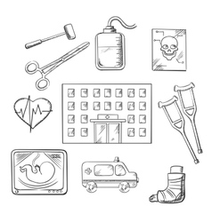Hospital healthcare and medical objects vector