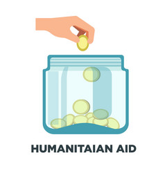 Humanitarian aid promotional logotype with jar vector