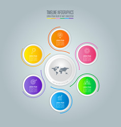 infographic design business concept with 6 options vector image