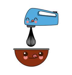 Kawaii kitchen electric mixer bowl cartoon vector