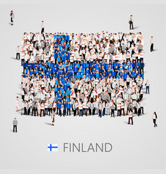 Large group of people in the finland flag shape vector