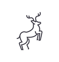 line deer line icon sign vector image